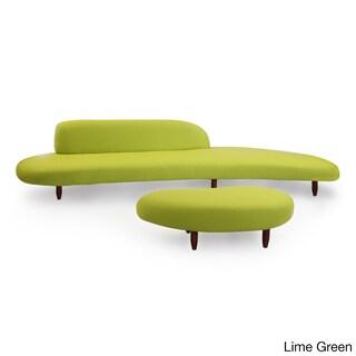 Kardiel Kidney Bean Mid-century Modern Sofa & Ottoman, Cashmere Wool/Walnut Legs