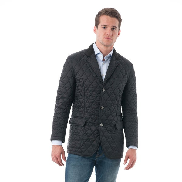 Men's Black Quilted Notched Lapel Sports Coat - Free Shipping ... : mens quilted sport coat - Adamdwight.com