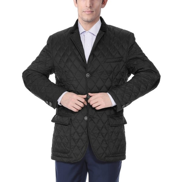 Shop Men S Black Quilted Notched Lapel Sports Coat Free