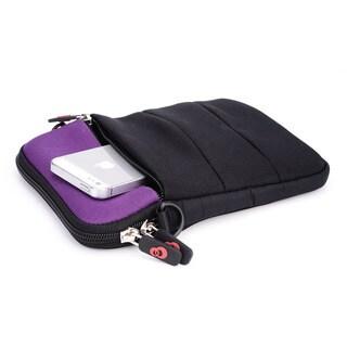 Kroo Grey/Purple Neoprene 8-inch Tablet Sleeve with Shoulder Strap and Front Zipper Pocket