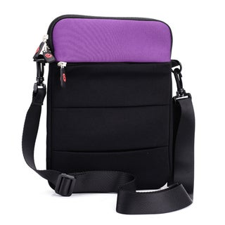 Kroo Grey/Purple Neoprene 10-inch Tablet Sleeve With Shoulder Strap and Front Zipper Pocket (Option: Purple)
