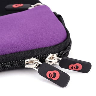 Kroo Grey/Purple Neoprene 10-inch Tablet Sleeve With Shoulder Strap and Front Zipper Pocket