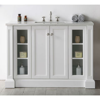Legion Furniture White Wood 48-inch Single-sink Vanity with Quartz Top