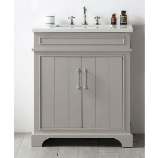 Legion Furiture Warm Grey Wood Quartz Top 30-inch Sink Vanity without Faucet