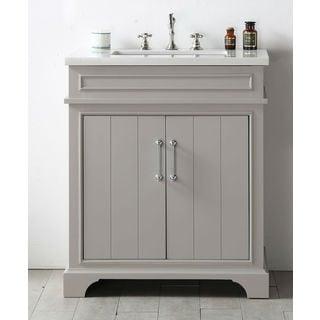 Legion Furiture Warm Grey Wood Quartz Top 30-inch Sink Vanity without Faucet