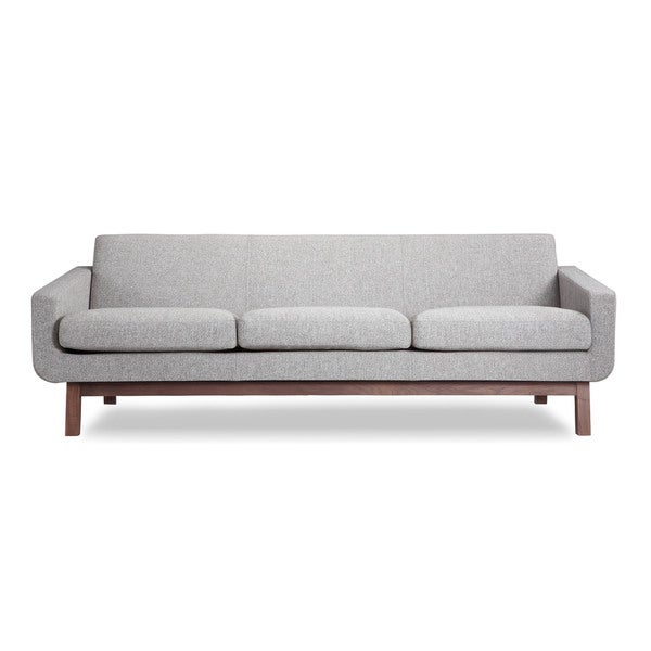 Kardiel Mid Century Modern Walnut Wood Platform Sofa