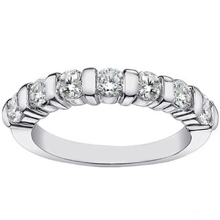 Platinum 1 1/4ct TDW Channel Bar 7-stone Diamond Wedding Ring (G-H, SI1-SI2)