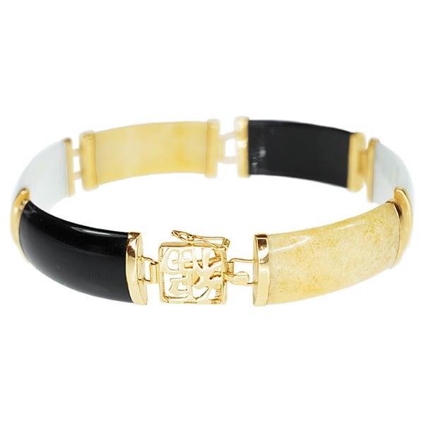 14k Yellow Gold Multicolor Jade Bracelet