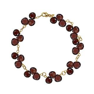 14k Yellow Gold Heart-shaped Garnet Gemstone-accented Bracelet