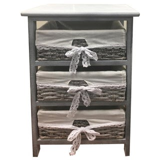 Benzara Urban Port Grey Wood/Wicker 3-basket End Table