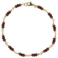 14k Yellow Gold Garnet Beaded Bracelet