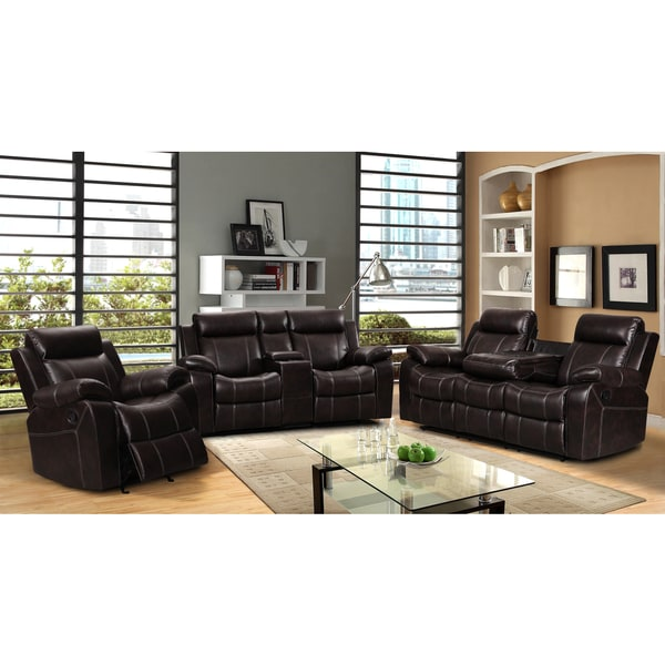 Finley Leather Gel 3 Piece Living Room Reclining Sofa Set