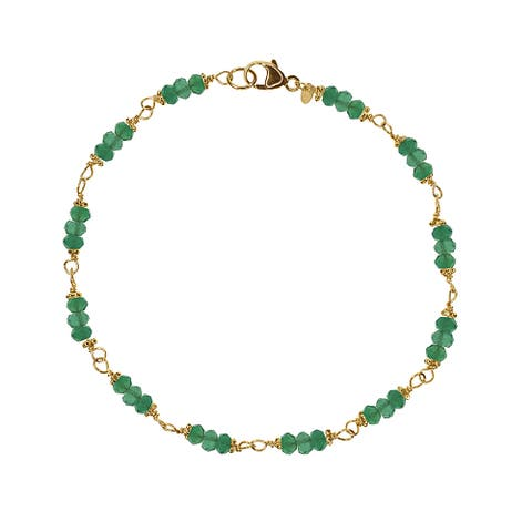 14k Yellow Gold Green Onyx Rondelle Accents Beaded Bracelet