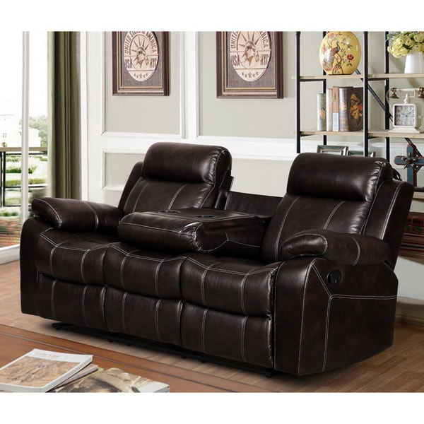 Finley Dark Brown Leather Gel Living Room Reclining Sofa With Drop Down Tea Table