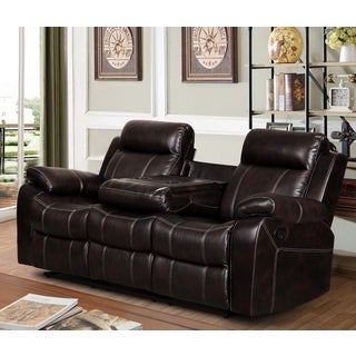 Finley Dark Brown Leather Gel Living Room Reclining Sofa with Drop-down Tea Table