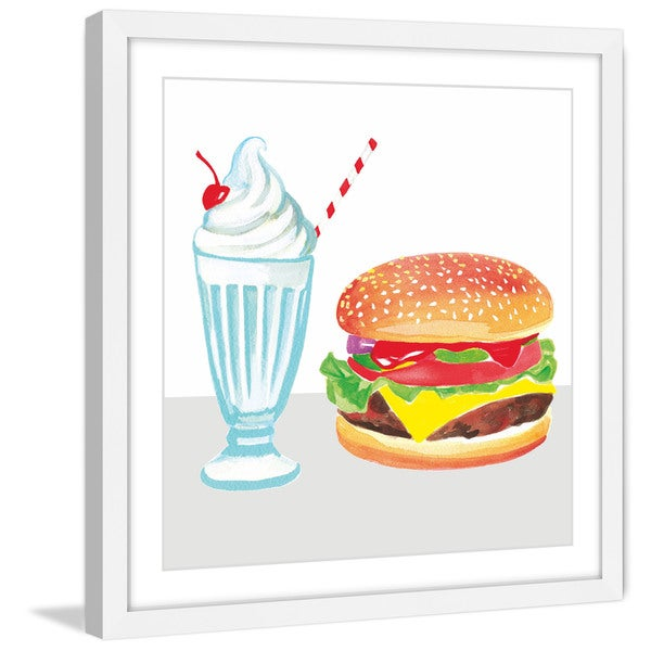 Marmont Hill - 'Burger & Shake' by Molly Rosner Framed Painting Print - Multi