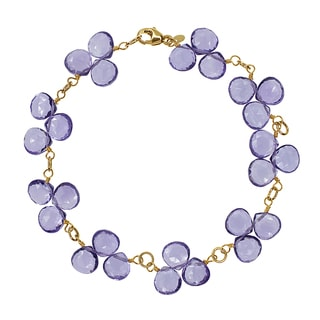 14k Yellow Gold Amethyst Heart Bracelet