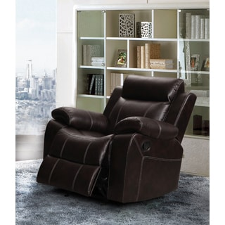 Finley Dark Brown Leather Gel Living Room Rocking Reclining Chair