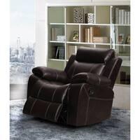 Finley Dark Brown Leather Gel Living Room Rocking Reclining Chair