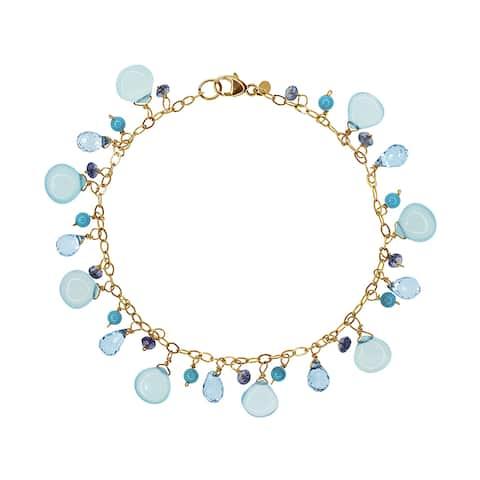 Shades of Blue 14k Yellow Gold Chalcedony/Turquoise/Topaz/Iolite Bracelet