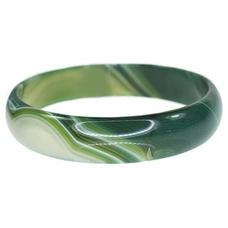 Women's Green Agate Swirl Bangle