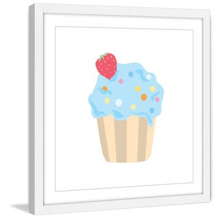 Marmont Hill - 'Blue Cupcake' by Diana Alcala Framed Painting Print