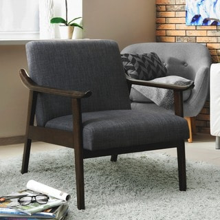 Furniture of America Alessima Mid-Century Linen Arm Chair