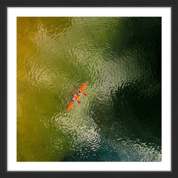 Marmont Hill - 'Orange Kayak' by Karolis Janulis Framed Painting Print - Multi