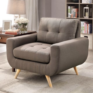 Furniture of America Merra Contemporary Tufted Mid-Century Style Mocha Upholstered Arm Chair