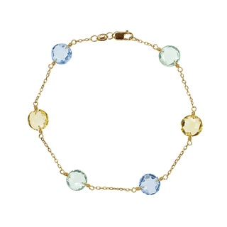 14k Yellow Gold Green Amethyst, Citrine, and Sky Blue Topaz Station Bracelet