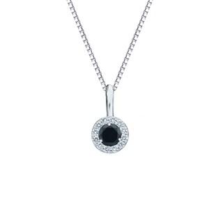 Auriya 14k Gold 1/4ct TDW Round-Cut Diamond Black Diamond Halo Necklace (H-I, I1-I2)