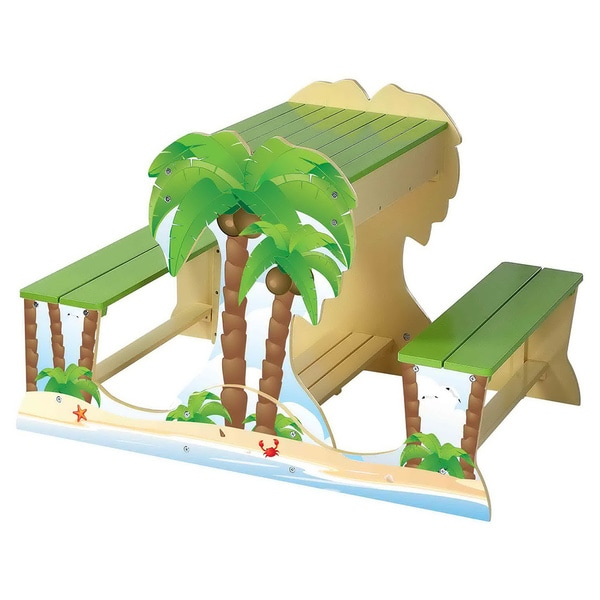 O'Kids Palm Tree Picnic Table and Sandbox Play Set