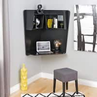 Broadway Black Wood Floating Corner Desk