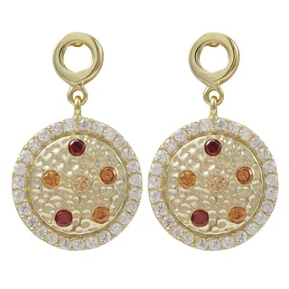 Luxiro Gold Finish Sterling Silver Champagne Cubic Zirconia Hammered Circle Earrings