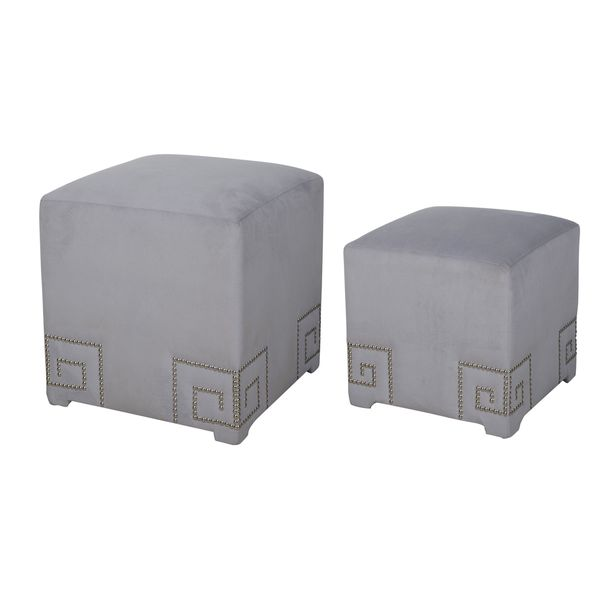Shop Kenner Grey Pink Polyester Upholstered Cube Ottomans