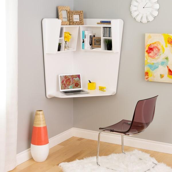 Prepac Winslow White Wood Floating Corner Desk - Free Shipping Today