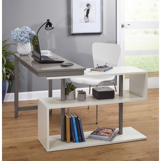 Simple Living Webster White/Grey Wood Swing Desk
