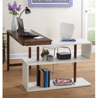 Simple Living Webster White/Grey Wood Swing Desk (Option: Walnut - Stained)