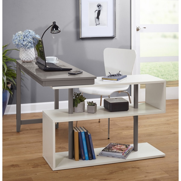 Shop Simple Living Webster White Grey Wood Swing Desk On