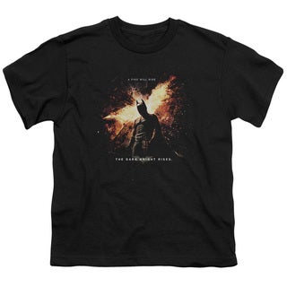 Dark Knight Rises/Fire Will Rise Short Sleeve Youth 18/1 in Black