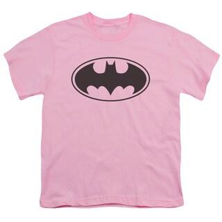 Batman/Black Bat Short Sleeve Youth 18/1 Pink