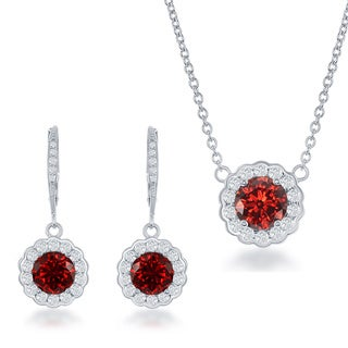 La Preciosa Sterling Silver CZ Birthstone Earring and Necklace Set
