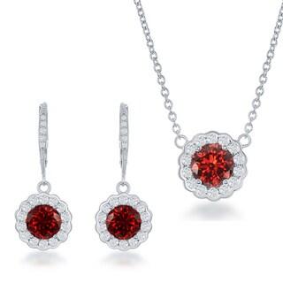 La Preciosa Sterling Silver CZ Birthstone Earring and Necklace Set