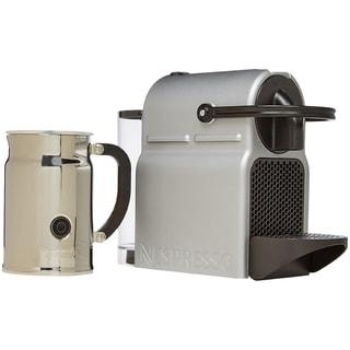 Nespresso A+D40-US-SI-NE Inissia C40 Silver + Milk Frother Bundle, Silver