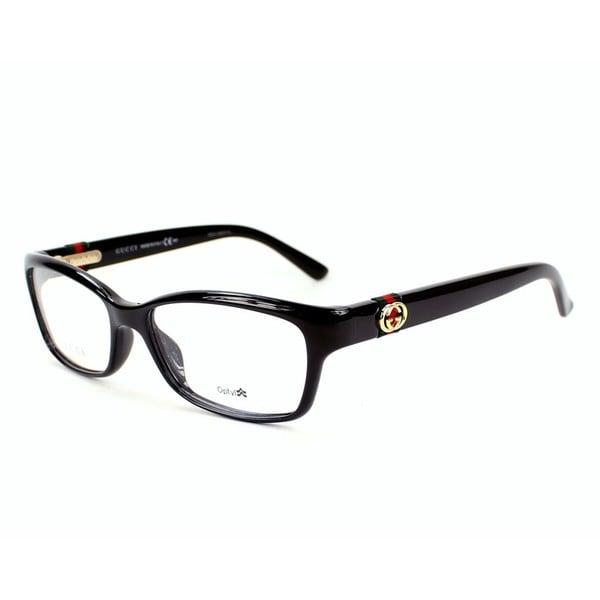 9709ae48515 Shop Gucci 3647 0D28 Womens Rectangular Eyeglasses - Black - Free ...
