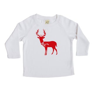 "Rocket Bug Holiday ""Deer with Scarf"" Baby Bodysuit and Toddler T-Shirt (More options available)"