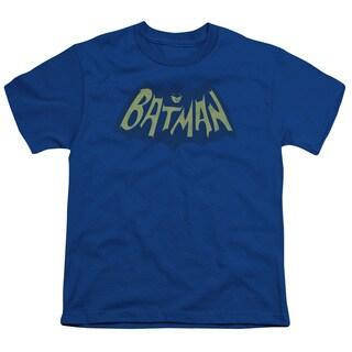 Batman/Show Bat Logo Short Sleeve Youth 18/1 in Royal