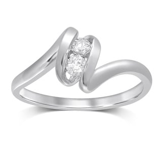 Unending Love 10K White Gold and Diamond Fashion Ring