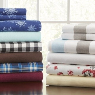 Pointehaven Superior Weight Cotton Deep Pocket Flannel Sheet Set