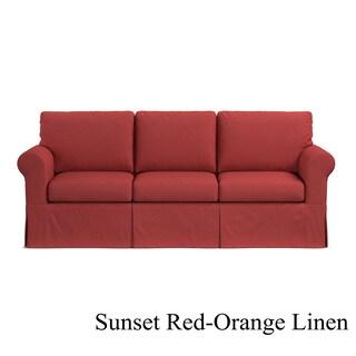 Handy Living Custom Skirted Replacement Cover for Handy Living Bella SoFast Sofa (Option: Sunrise Red-Orange Linen Slipcover)